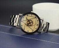 Retro Womens Mens Stainless Steel Watches Compass Quartz Analog Wrist Watch AU