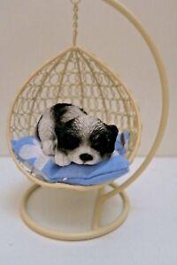 SHIH TZU IN HANGING BASKET DOG ANIMAL GARDEN STATUE ORNAMENT FIGURINE GIFT