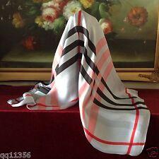 "New Women silk oversized Nava Check Plaid long scarf shawl wrap 36""x70"" Gray"