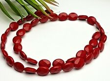 Strang syntetische Koralle rot Oval Olive flach facettiert  10*8*4,5 mm 40 Stck