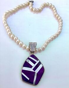 JAY KING Sterling  Purple Turquoise Mother of Pearl Pendant Necklace Pearls