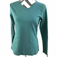 Duluth Trading Womens XS Green V Neck Long Sleeve Top Cotton
