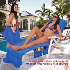 Toweling Sunbed Covers Beach Towels Sunloungers Bag Swimming Pool Travel Gifts