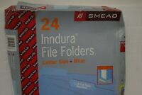 Smead Indura Waterproof Poly File Folders 1/3 Cut Top Tab Letter Blue 24 count