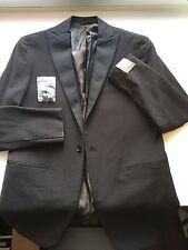 NWT $1395 CURRENT Eidos Napoli by Isaia Black Tuxedo Smoking Peak Lapel 38R/48R