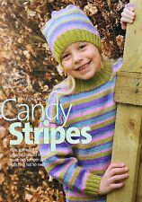 KNITTING PATTERN Childrens Striped Jumper and Hat High Neck Sweater Girls Rowan