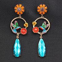 Betsey Johnson Enamel Crystal Flower Bird Round Earbob Dangle Women's Earrings