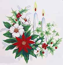 "6 Christmas Candle Poinsettia Holly Berries 2""  Waterslide Ceramic Decals Xx"