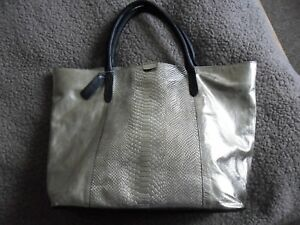 STOW  London shiny gold/black real leather tote bag brand new