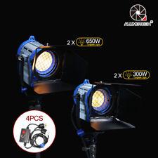 Fresnel Tungsten Spotlight Lighting (300W+650W)*2+Dimmers*4 Studio Fit Arri bulb