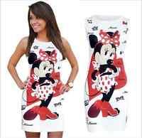 Women's Cartoon Minnie Print Bodycon Sleeveless Summer Party Casual Mini Dress