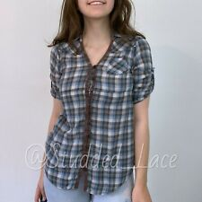 Charlotte Russe Size XS Plaid Top Short Sleeve Button Down Shirt Blue Brown