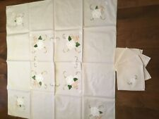Table Cloth Embroidered White Flower 80cm square with 4 Napkins