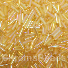 Bugle cuentas de vidrio 50g-Amarillo Oro Arco Iris-Aprox 6mm tubos, Craft