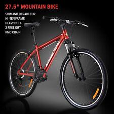 "27.5"" Men's Mountain Bike Hybrid 21 Speed Suspension Shimano Bicycle Sports Red"