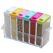 Hot 6pcs/Set Transparent Spice Jar Colorful Lid Seasoning Kitchen Storage Box