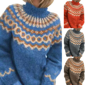 Women Nordic Sweater Mock Neck Knitted Jumper Casual Pullover Winter Warm Tops