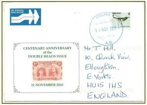 ZIMBABWE, 2010 MAIL TO UK, CENTENARY ANNIV. OF DOUBLE HEADS, UNUSUAL