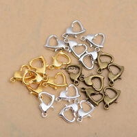 50Pcs Heart Charm Connector Bracelet Necklace Clasps Hooks Jewelry Findings