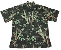 Tori Richard Honolulu Men's Size Large Hawaiian Tropical Camp Shirt Bamboo Print
