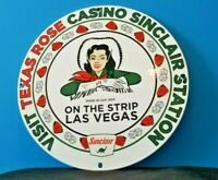 VINTAGE SINCLAIR GASOLINE PORCELAIN GAS DINO PIN UP CASINO SERVICE STATION SIGN