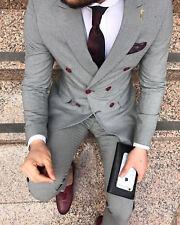 Hombre Gris Doble Botonadura Trajes Novio Boda Informal Elegante (Jacket + Braga