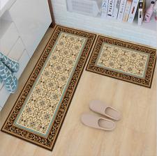Non-Slip Kitchen Floor Mat Rubber Backing Doormat Runner Rug 2 Piece Set