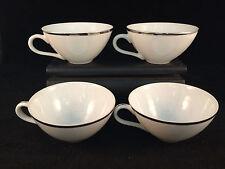 "Set of 6 Vintage Style House Tea Cups Platinum Ring 3-1/2"" Diameter, 1-1/2"" Tall"