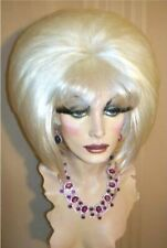 Drag Queen Wig Bob in White Blonde Teased up big with Bangs