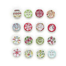 50pcs Christmas Round Wood Buttons Sewing Scrapbooking Handwork Decor 15mm