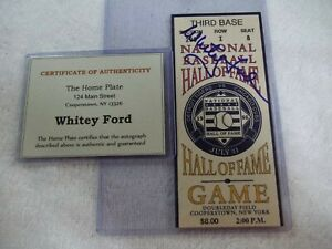Whitey Ford Signed 1995 Cooperstown Hall Of Fame Game Ticket With COA