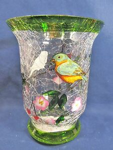 Small Pillar Candle Holder Hand Painted Crackle Glass Home Decor Green Bird (B)