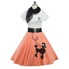 Hip Hop 50s Shop Womens Poodle Skirt Outfit Halloween or Dance Costume Dres Pink