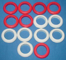 Large Bumper Pool Table Rubber Bumper Rings - 7 White & 7 Red - Set of 14