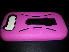 SAMSUNG GALAXY S III 3 S3 PINK BLK IMPACT HARD CASE COVER KICKSTAND ALL CARRIERS