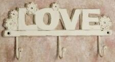 """""""LOVE"""" HOOK RUSTIC DISTRESSED WHITE IRON WALL HANGER HOOK 10"""" W x 5"""" H"""