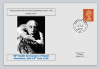 GB 2018 90th death anniv Roald Amundsen antarctic explorer postal card #1