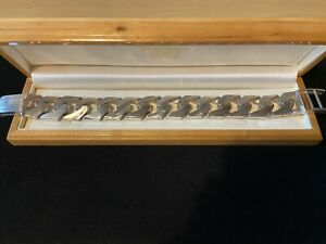 VERY HEAVY Vintage 925 solid silver Mens Gents curb bracelet 174.2 grams 9 inch