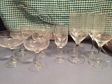 Set of 13 Etched Glass Crystal Glasses - lines elegant Various sizes