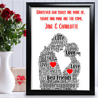 Gifts For Couple Personalised Anniversary Word Art Card Boyfriend Girlfriend Her