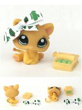 Authentic Littlest Pet Shop LPS #1053 Sassiest Orange Kitten Cat Green Eyes Fish