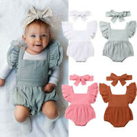 Newborn Infant Kids Baby Girls Backless Romper Bodysuit Outfits Clothes Kit