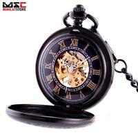 Mens Black Skeleton Vintage Wind up Mechanical Pocket Watch Gift Fob Chain Retro