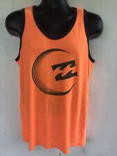 Billabong Recycler Series Tank Top T Shirt, Mens Small, Orange With Black Trim