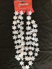 Blanc Flocons de Neige Perlé Guirlande Décoration Sapin Noël ou pour Fête