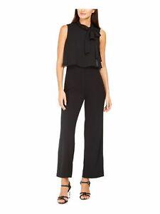 CALVIN KLEIN Womens Black Sleeveless Tie Neck Wide Leg Evening Jumpsuit Size: 8