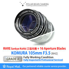 ⭐SERVICED⭐ KOMURA 105mm F3.5 *16 BLADES* RARE Portrait King M42 Fit [GRADE A]