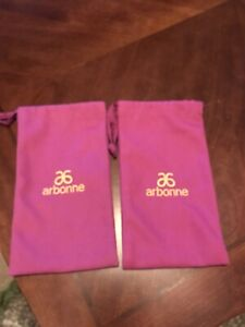 2 Brand New Arbonne Purple & Gold Drawsting Canvas Bags