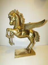 Vintage Brass Sculpture Flying Pegasus Fairy Tale Mystical Mythology Large Horse