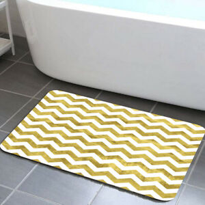 Gold and White Chevron Pattern Bath Rugs Non-Slip Floor Entryways Indoor Mat